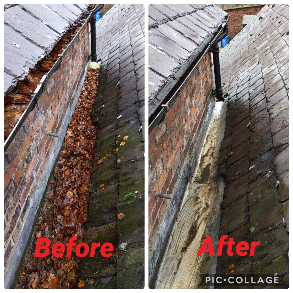 Guttering cleaned before and after